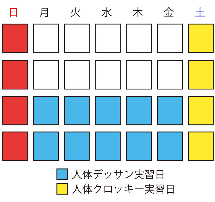 各実習カレンダーイメージ